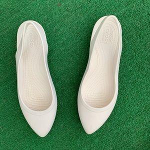 Crocs white flats 11 ballet shoes eve slingback